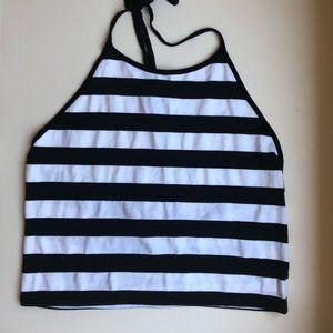 LF Black & White Striped Crop Top Halter